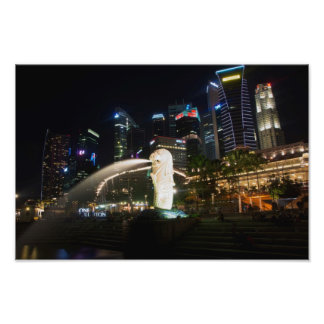Singapore Merlion on Skyline Photo Print