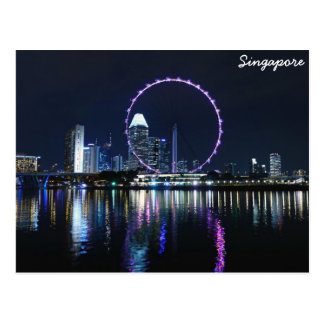 Singapore night skyline postcard