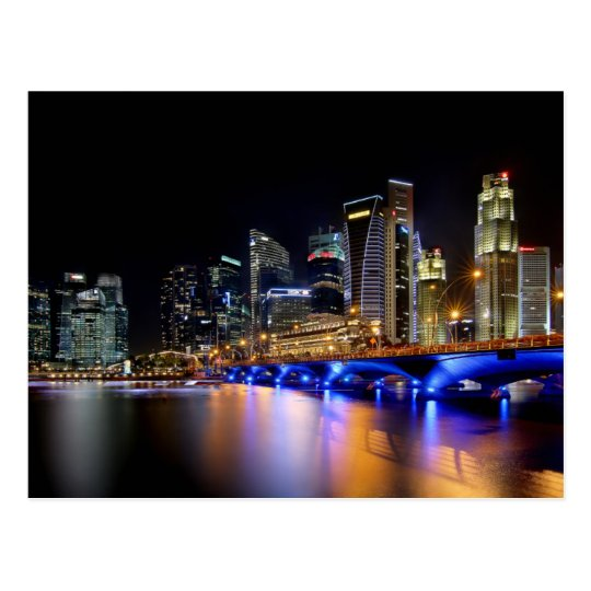 Singapore skyline and the Esplanade Bridge Postcard