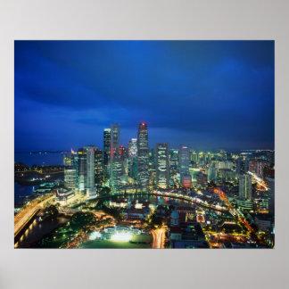 Singapore Skyline at night, Singapore Poster