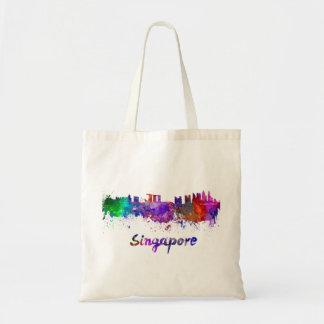 Singapore skyline in watercolor tote bag