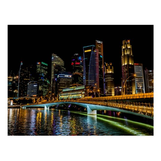 Singapore Skyline, Night Lights Postcard