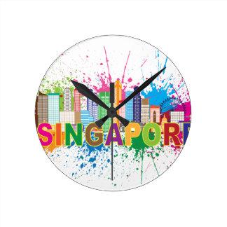 Singapore Skyline Paint Splatter Illustration Wallclocks