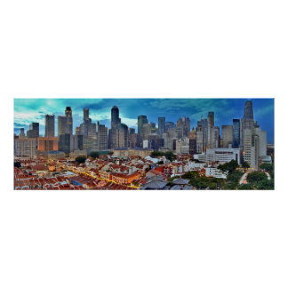 Singapore skyline viewed from Chinatown at sunset Poster