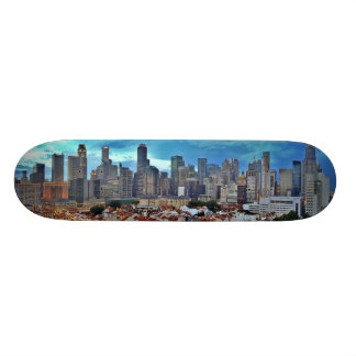 Singapore skyline viewed from Chinatown at sunset Skate Board Deck