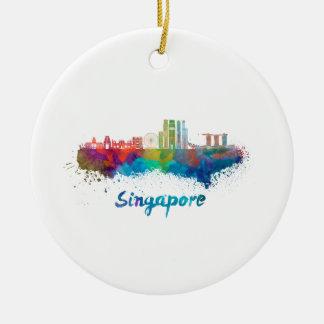 Singapore V2 skyline in watercolor Ceramic Ornament