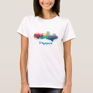 Singapore V2 skyline in watercolor T-Shirt