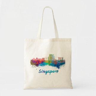 Singapore V2 skyline in watercolor Tote Bag