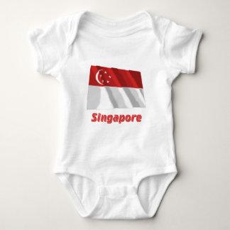 Singapore Waving Flag with Name Baby Bodysuit