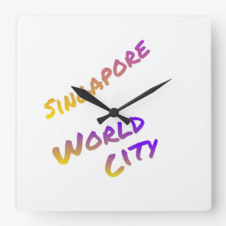 Singapore world city, colorful text art square wall clock