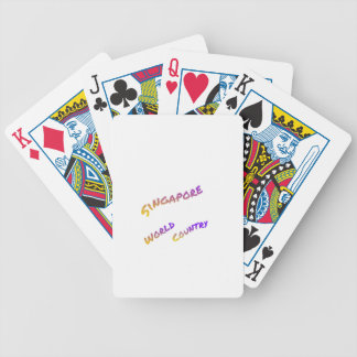 Singapore world country, colorful text art bicycle playing cards