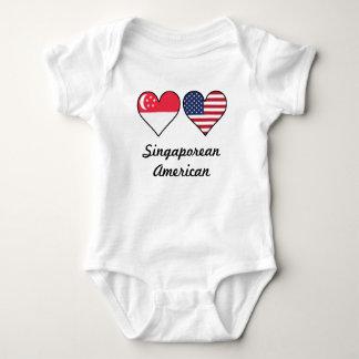 Singaporean American Flag Hearts Baby Bodysuit