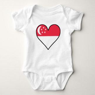 Singaporean Flag Heart Baby Bodysuit