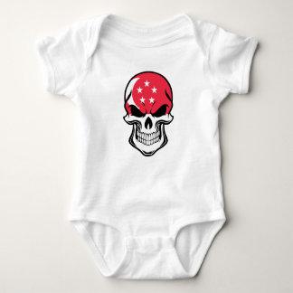 Singaporean Flag Skull Baby Bodysuit