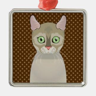 Singapura Cat Cartoon Paws Metal Ornament