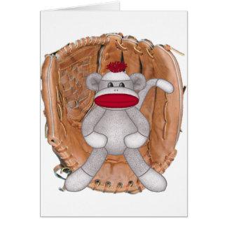 Singe de chaussette du base-ball carte de vœux