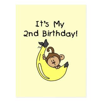 Singe de garçon sur le 2ème anniversaire de banane carte postale