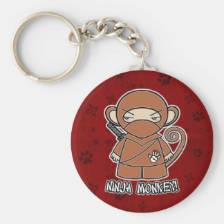 Singe de Ninja ! Dans le porte - clé rouge Porte-clé Rond