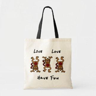 Singe vivant d'amour sacs en toile