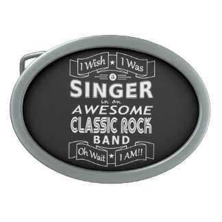 SINGER awesome classic rock band (wht) Oval Belt Buckle