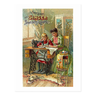 "Singer Sewing Machine ""The First Lesson"" Victorian Postcard"