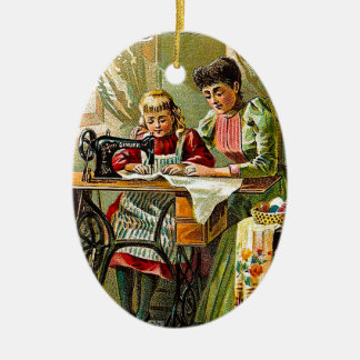 """Singer Sewing Machine """"The First Lesson"""" Vintage Ceramic Ornament"""