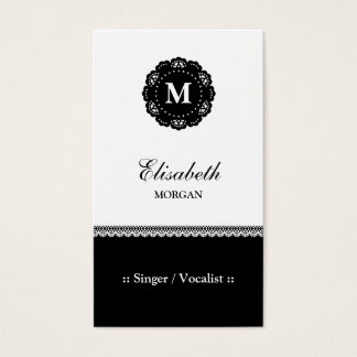 Singer / Vocalist - Elegant Black Lace Monogram Business Card