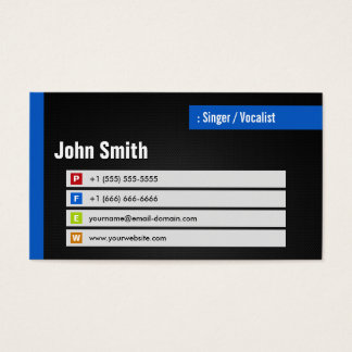 Singer / Vocalist - Stylish Theme QR Code Business Card