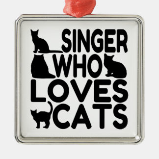 Singer Who Loves Cats Silver-Colored Square Ornament