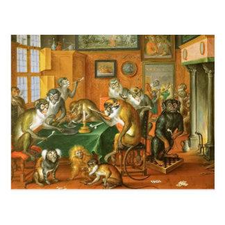 Singerie: Monkeys Acting as Humans in Art Tobacco Postcard