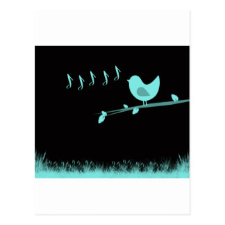 Singing Abstract Birdie Post Card