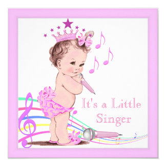 singing baby shower cute girl pink music square invitation card