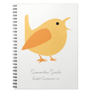 Singing Bird Notebook, Orange, Customizable Notebook