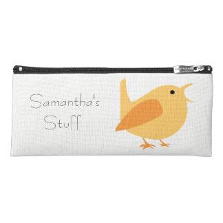 Singing Bird Pencil Case, Orange, Customizable Pencil Case