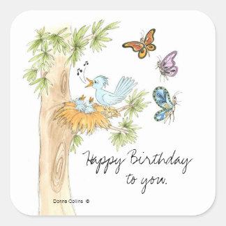 Singing Birds Birthday Sticker