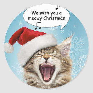 Singing Cat Christmas Stickers