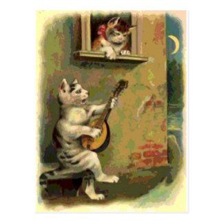 Singing Cat, vintage style Postcards