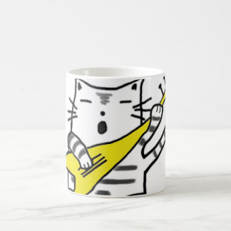 Singing cat - yellow coffee mug