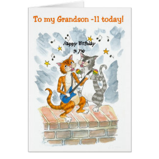 Singing Cats 11th Fun Birthday Card for a Grandson