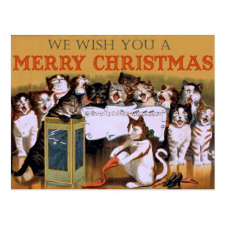 Singing Cats - Vintage Christmas Postcard