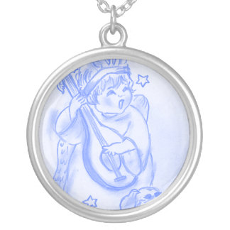 Singing Christmas Angel with Puppy Silver Plated Necklace