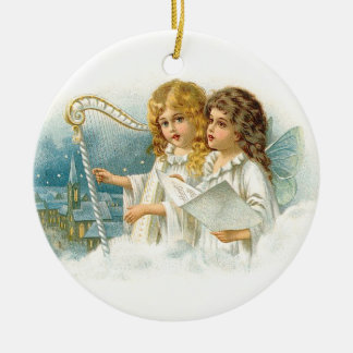 Singing Christmas Angels Ceramic Ornament