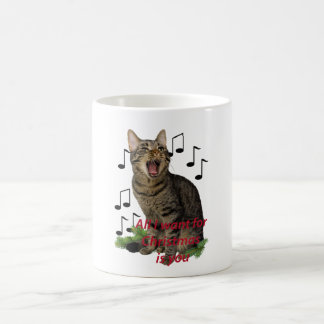 Singing Christmas Cat Coffee Mug