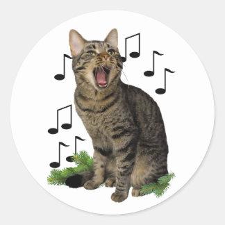 Singing Christmas Cat Round Sticker
