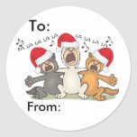 Singing Christmas Cats Round Sticker