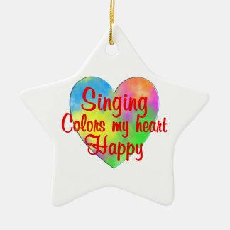Singing Colors My Heart Happy Ceramic Star Ornament