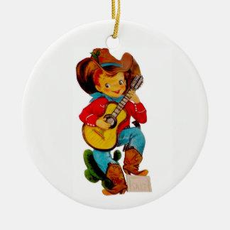 Singing Cowboy Kid Ceramic Ornament