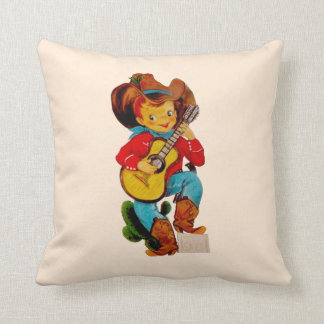 Singing Cowboy Kid Throw Pillow