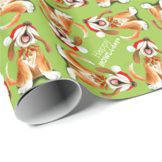 Singing dog art happy howlidays Christmas Wrapping Paper