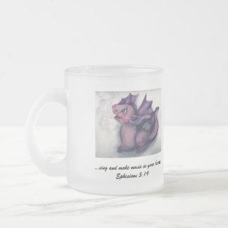 Singing Dragon 10 Oz Frosted Glass Coffee Mug